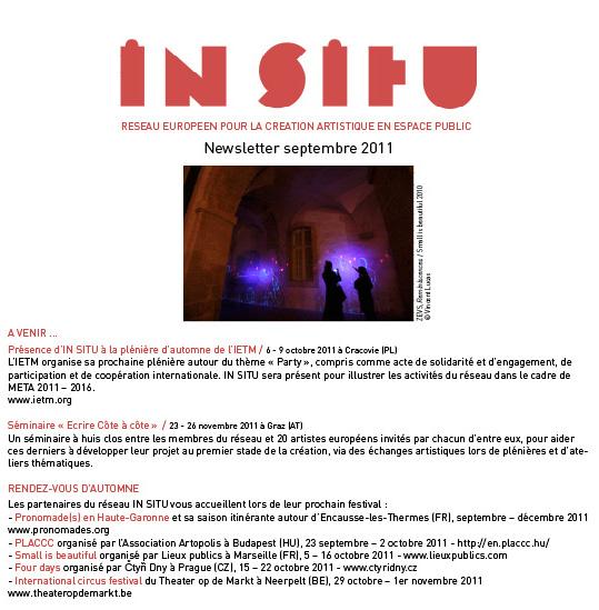 Newsletter septembre 2011