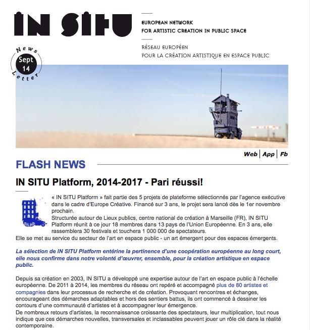 Newsletter septembre 2014